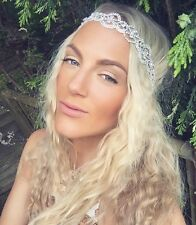 Silver Diamond Crystal Tie Back Ivory Ribbon Vintage Hair Head Band Bridal Bride
