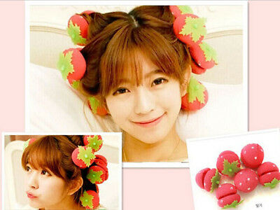 6 Pieces Strawberry Hair Rollers Magic Soft Foam Sponge Curlers Curls DIY Tool
