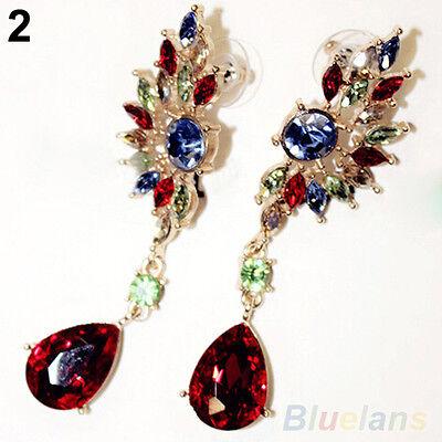 Exquisite Royal Wing Shape Symmetry Crystal Rhinestone Dangle Stud Drop Earrings