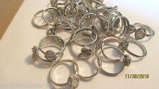 36 LOT Ladies Silvertone Adjustable Rings Add A Stone So Cute!!