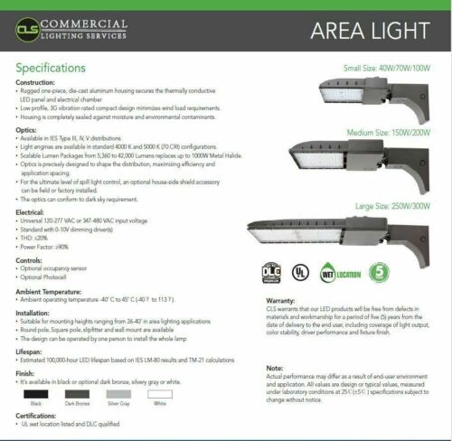 LED Area Shoebox Pole Bronze Light 70//100//150//200//300 Watts Commercial Dimmable