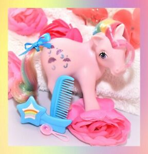 ❤️My Little Pony G1 Vtg Rainbow Ponies PARASOL Glitter Original Brush Comb❤️