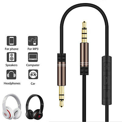 Headphones Earphone Audio AUX Cable Lead Cord 3.5mm Male to Male with MIC