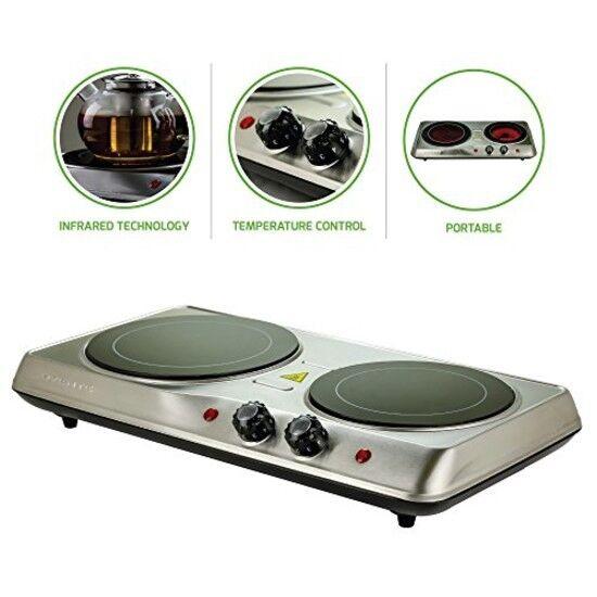 Estufa Cocina Electrica De 2 Hornillas Portatil Para Casa