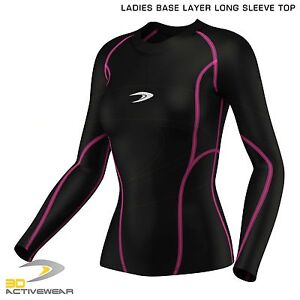 Active-Ladies-Womens-Base-Layer-Long-Sleeve-Compression-Armour-Top-Gym-Sports