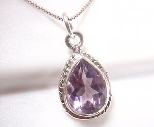 Faceted Amethyst Teardrop and Moonstone 925 Sterling Silver Necklace