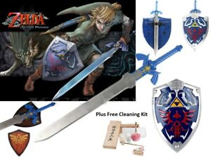 Legend-of-Zelda-Real-Steel-Premium-Gift-Set-Master-Sword-and-Shield-Link-039-s-Game