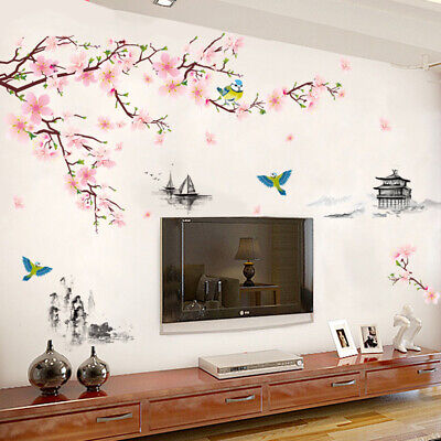 Large Cherry Blossom Flower Erfly, Large Mirror Wall Stickers Uk