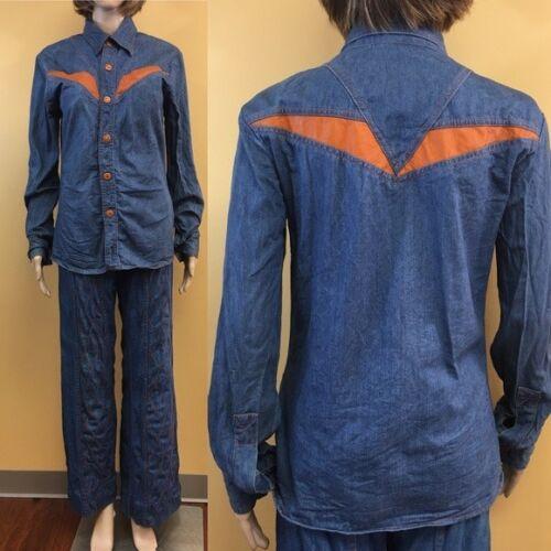Vintage 70's Faded Glory Denim & Orange Faux Leath