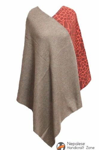 100 puro Nepal in a colore mano cashmere Poncho naturale fatto RIddO