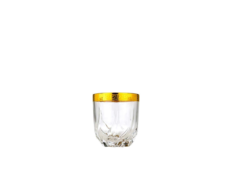 Art Decor A1039, 11 Oz Old Fashioned Glasses, Tumblers w Gold Rim, Set of 6