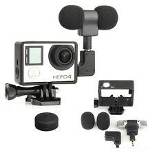 Gopro External Microphone Mic + Border Frame Mount Kit + Adapter for Hero 4 3+ 3