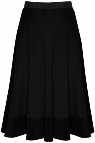 Women Ladies Celebrity Pleated Stretch Scuba Elasticated Band Flared Swing Skirt