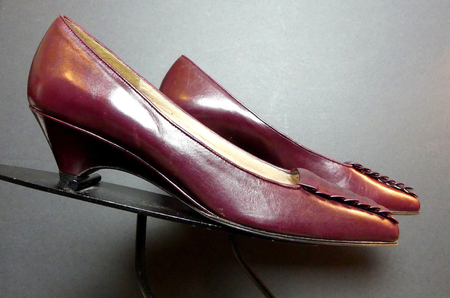 Vintage Women's Sesto Meucci Florence Cabernet Pleated Slight Wedge Pump Sz. 8N