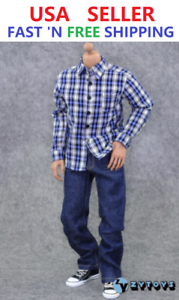 Zabawki 1/6 Red White Plaid Long Sleeves Shirt Jeans For 12 Male Figure SHIP FROM USA