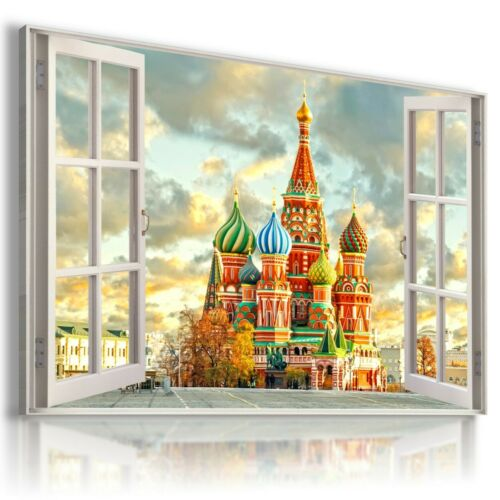RUSSIA MOSCOW 3D Window View Canvas Wall Art W260 MATAGA UNFRAMED-ROLLED