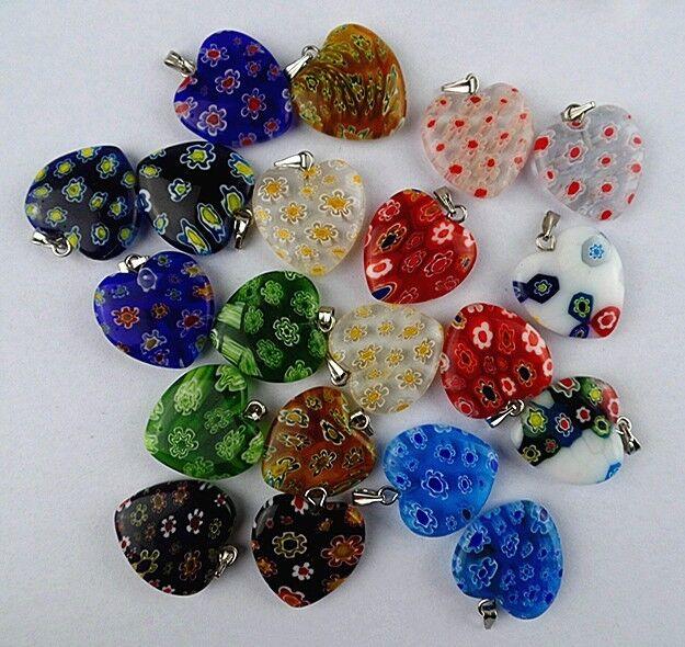 9pcs Beautiful unique mixed colors Millefiori Glass Teardrop pendant bead BA979