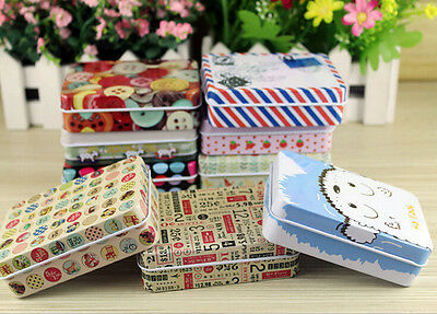 New Small Storage Jars Rectangular Iron Tin Gift Jewelry Holder Storage Box 1Pcs