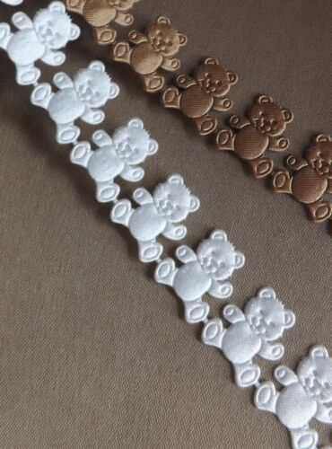 1M Ivory Teddy Bear Ribbon trim Christening Favours Decorations Baby Shower lace
