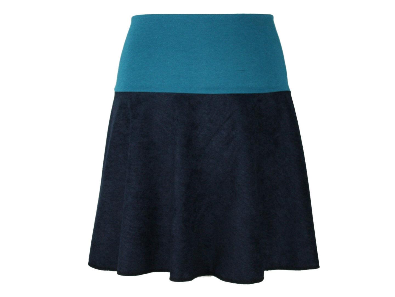 9d9e4d5cababaf Rock Mini Veloure Blau Damen Boho Glockenrock A-Linie Petrol  nopobi6091-neue Kleidung
