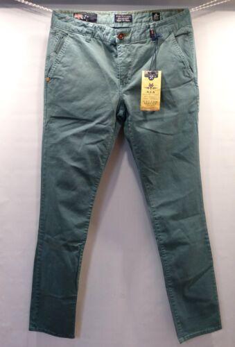 Napier Stretch Twill Verde-Turchese NEW Zealand Auckland Pantaloni uomo chinos 13gn621