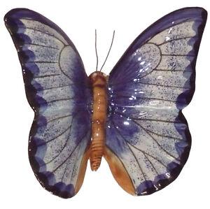Papillon céramique 23 cm bleu, décoration jardin, déco murale ...