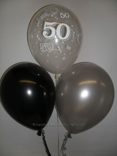 10 Table Party Kit 50th Birthday Black /& Silver Helium Balloons Ribbon Weights
