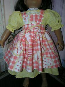 Yellow-Dress-Cookie-Print-Apron-2-piece-Dress-23-034-Doll-clothes-fits-My-Twinn
