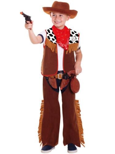 Ragazzi Bambini WILD Cowboy Western Costume Gioco di Ruolo Vestirsi Costume Kit e cappello