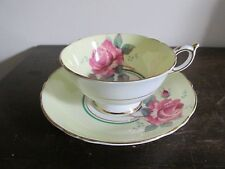 Vintage Paragon England Tea Cup And Saucer Yellow Pink Cabbage Rose Gold