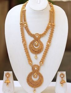 South Indian Temple Jewelry Gold Beautiful Short Long Necklace