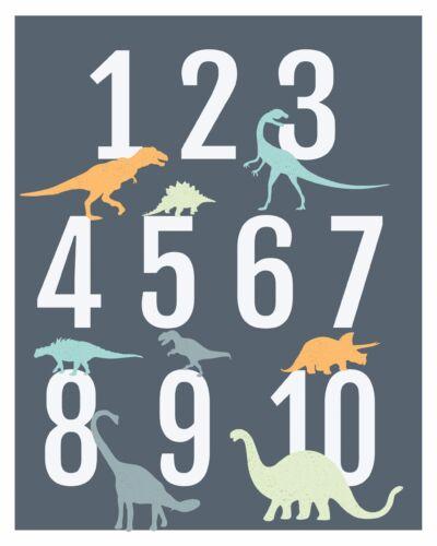 Dinosaur Kids Room Decor Modern Nursery Decor Dinosaur Numbers Poster Wall Art