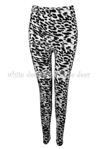 Women/'s Skinny Black White Leopard Cheetah Animal Leggings Stretchy Jeggings