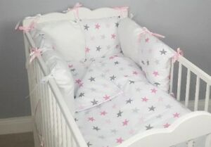 8 pc cot //cot bed bedding sets PILLOW BUMPER CASES grey big stars duvet cover