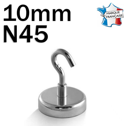 AVEC CROCHET LOT DE 5 SUPER AIMANT MAGNET NEODYM DISQUE N45-10mm