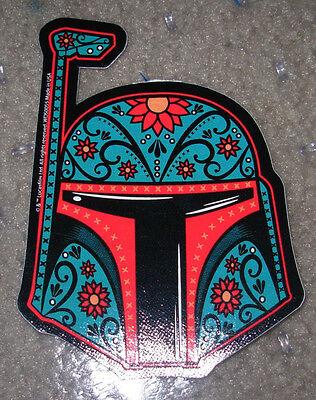 """STAR WARS BOBA FETT MUERTO Art Sticker Print 2 X 4.5/"""" DIA DE LOS Helmet"""