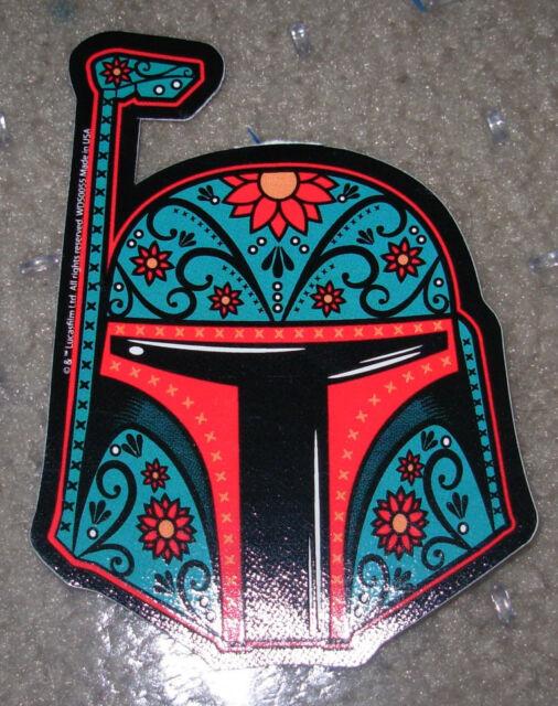 """STAR WARS BOBA FETT MUERTO Art Sticker Print 2 X 4.5"""" DIA DE LOS Helmet"""