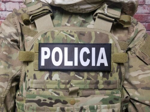 "2-Pack 3x8/"" POLICE Black White Hook Back Morale Raid Patch Badge SWAT Lot"