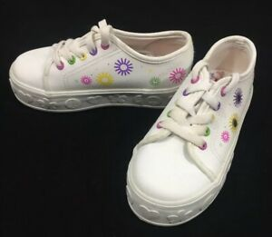 White Leather Lace Up Tennis Shoes Size