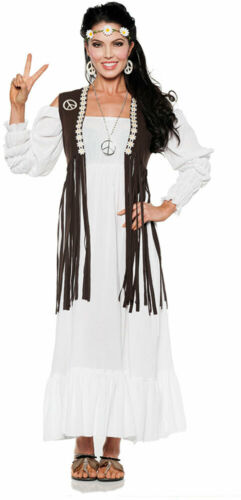 Earth Child Gauze Dress Fringed Vest Flower Headband Hippie Costume Adult Women