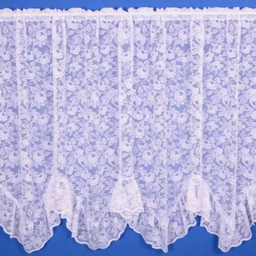 Various Widths And Drops! Rose Flounce Net Curtain Finished In White