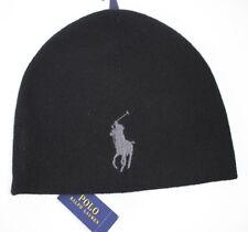 NWT POLO RALPH LAUREN OS Men's Black w/Gray Big Pony ACTIVE ROY Winter Hat