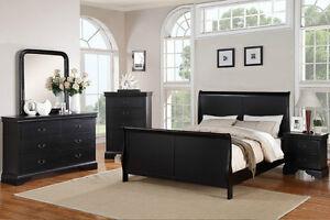 Contemporary Queen Bed Dresser Mirror Night Stand Bedroom Furniture