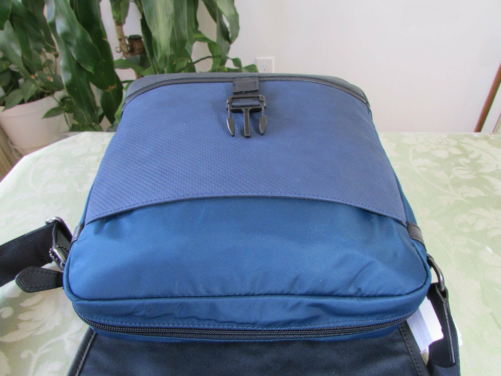 Coach Varick Perforated Leather Map Messenger Bag F71552 Indigo   eBay