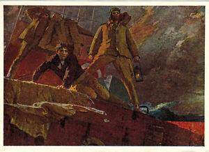 1967-VR-Russian-postcard-49-DAYS-IN-THE-OCEAN-Drifting-Soviet-barge-N-Tolkunov