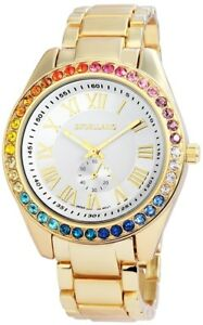Excellanc-Damenuhr-Weiss-Gold-Strass-Chrono-Look-Analog-Metall-X152402500042