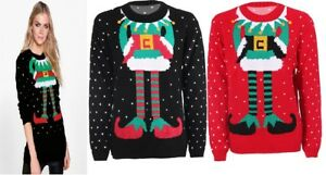 Joker Christmas Sweater.Details About Womens Ladies Christmas Jumper Elf Body Joker Knitted Xmas Sweater Size Uk 8 14