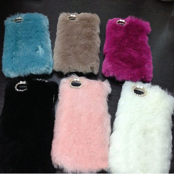 Cute Rabbit Fur Luxury Ultra Warm Back Skin Cover Case For Phone 4/4S 5/5S Gift