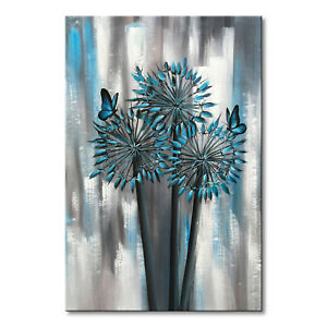 Hand-Painted-Abstract-Blue-Flower-Oil-Painting-Wall-Art-Floral-Canvas-Home-Decor