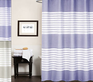 Image Is Loading Pacey 100 Cotton Fabric Striped Shower Curtain 70